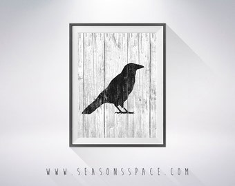 Crow art illustration, Crow painting, Wood Crow, Wall art,Rustic Wood art,Animal print,Home Decor,Animal silhouette, Crow silhouette