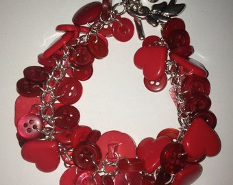 Red Heart Button Charm Bracelet - Upcycled OOAK Valentines