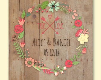 """Wedding 1st Anniversary Gift, Personalized Engagement gift, Wall Print, Wedding Gift, Love Gift for Couples Poster  8'5 x 11"""""""