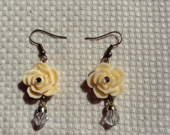 Cream Rose Earrings w/Hanging Clear Crystals