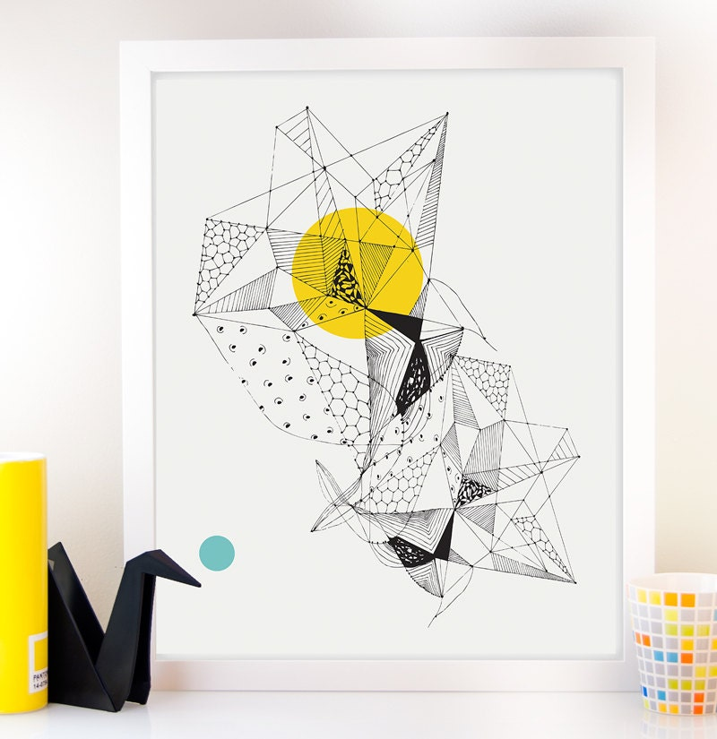 Faceted triangle art geometric giclee art prints wall for Cool wall art drawings