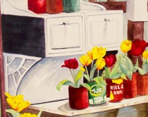 Old Stove with Cans of Tulips Note Card with envelopes.  5 x 7 inch size. Blank inside. print of my original painting
