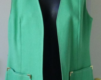 ON SALE - 60s, mint green vest with pockets, PSI