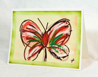 Original Art Blank Note Cards, Butterfly Art