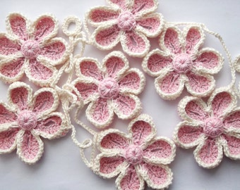 flower garland, crochet flower garland, flower bunting, pink flower garland, decoration, nursery decoration, flower, crochet flower.