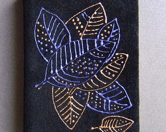 """a small handmade notebook """"to remember autumn"""" leather cover with painting Format A7"""