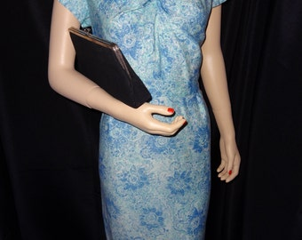 SALE Vintage 1950's - Early 1960's Blue Flowered Pinup Girl Wiggle Dress - Size XL - VLV !!! Retro
