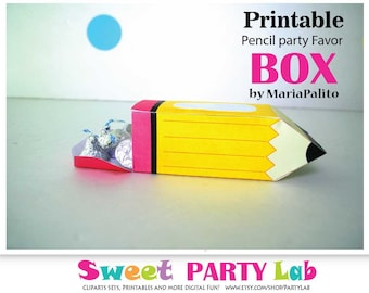Pencil printable Box, Printable Party Favor Gift Box, Back to school Box, Teacher Appreciation Box, Back to school D093 HOTE1