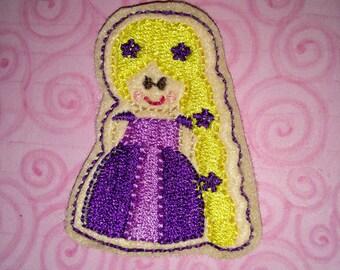 Set of 4 Princess Purple Rapunzel Cutie Feltie Felt Applique Bow! Felties Applique Birthday Party Tangled Planner Clip Hairbow Long Hair