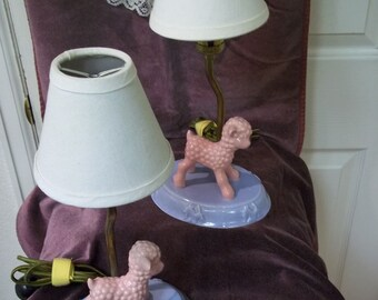 Set of 2 Vintage Children's Lamb Porcelain Lamps
