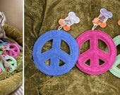 Suede Leather Peace Dog Toy to Support Rescue