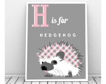 Hedgehog Art, Instant Digital Download, Hedgehog Print, Girl Nursery Art, Instant Download Art, Hedgehog Drawing, Hedgehog Gifts, Bedroom