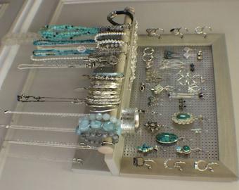 Wall Hanging Jewelry Organizer ebony and chrome jewelry organizer with bracelet bar stained