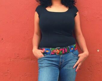 Wide belt, Boho Hippie Belt, Colorful Belt, Leather Belt, Floral Belt- In gold, blue, violet, green - Size Small, Medium, Large - JDWB1