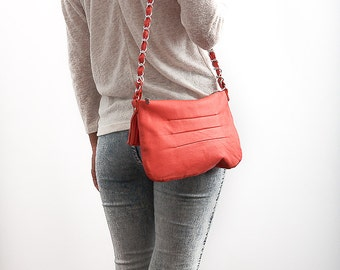 FREE SHIPPING Genuine leather cross body coral bag with chain strap / coral pursue