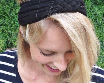 Solid Black adult sailors knot headband