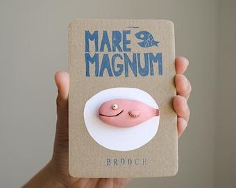Pink brooch smiling fish pin, ocean art, animal jewelry