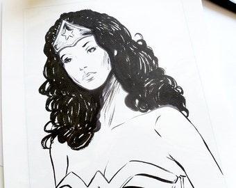 Wonder Woman - original ink sketch