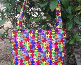 Austism Awareness Fabric Purse, Tote Bag, Diaper Bag, Book Bag, Lunch Bag, Shoulder Bag, Novelty Purse,Bag for Toys