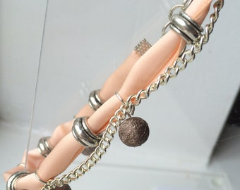 Pretty Ribbon and Chain Bracelet
