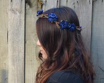 FC3 - navy blue floral twine crown with brown leaves