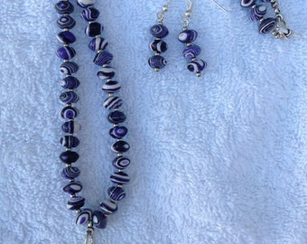 Dyed PURPLE Howlite necklace with Bali Silver PENDANT, matching EARRINGS