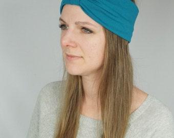 Women's solid bamboo workout headband, turban headband, ladies accessories, teal hair wrap