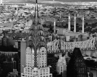 New York City Skyline - 8x10 Black & White Photo Wall Art Picture - Chrysler Building and Queensboro River Bridge at Sunset, Manhattan