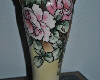 Nippon Porcelain Vase with Art Deco Rose Floral Pattern