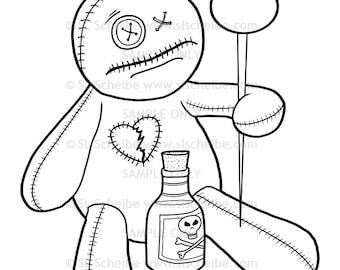 Digistamp Voodoo Doll Potion Instant Download Digital Stamp