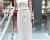 crochet  white dress, KNITTED Dress,White Viscose Dress  Maxi  Dress Crochet white  Dress IVORY dress,Beach White SunDress,Bridal Maxi Dress