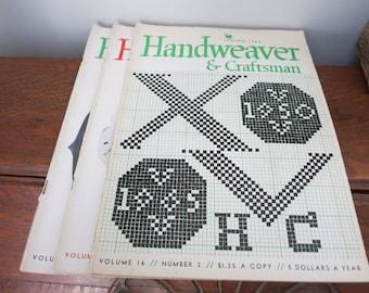 1960's Handweaver and Craftsmen 3 Issues Weaving Magazine