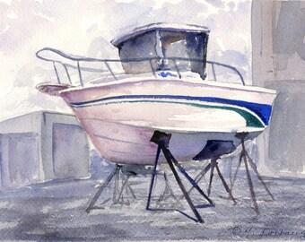 Boat at the Dockyard Watercolor Painting - Art Print