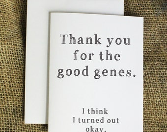 Thank You Father's Day Card Funny Father's Day Card Thank You for the Good Genes Card