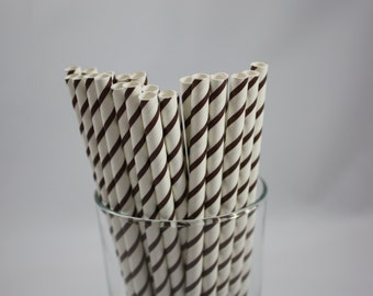 """25 Dark Chocolate Brown and White Striped Paper Straws - 7.75"""" - brown and white - white and dark brown -  baby shower - birthday party"""