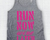 XS Sale/Clearance  Run Now Wine Later  Gym Tank fitness tank workout tank running tank marathon tank