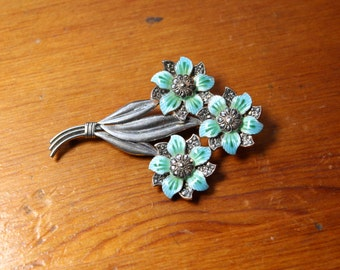 Vintage Art Deco Sterling Silver Enamel and Marcasite Flower Pin