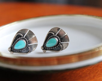 Vintage Sterling Silver Native American Screw Back Earrings with Turquoise Teardrops