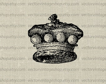 Royal crown vector graphic instant download, baron's coronet digital clipart, royalty symbol nobility old illustration WEB1710AY