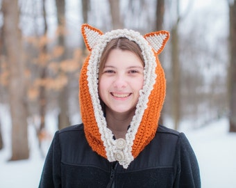 Fox Hat Womens Cowl Scarf  Animal Hat Winter Hat - Sizes Child to Adult -