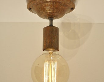 Rust Patina Ceiling Mounted Light Fixture Rustic Industrial Vintage