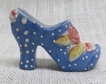 1960's Miniature Porcelain Shoe From Japan, Polka Dot Shoe, Collectible Porcelain Shoe