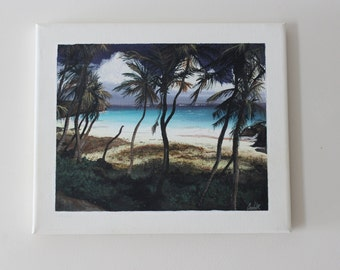 Barbados Beach Painting on Canvas