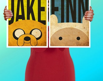 Adventure Time Jake The Dog & Finn Faces  - Art Print / Poster / Cool Art - Any Size