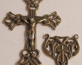 Delicate Two Sided Crucifix & Center Rosary Parts Set - Sterling Silver or Bronze Religious Replica - Catholic Pendant #1062-256