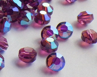 20 Vintage Swarovski Crystal Beads, Article 335 Also Known As 5100, 5mm Amethyst With Aurore Boreale Finish