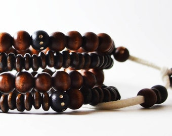 African Nubian Bracelet Handmade in Australia. Men's Streetwear OKSINC Natural Earth tones, Wooden beaded handmade boho bracelet.Brown black