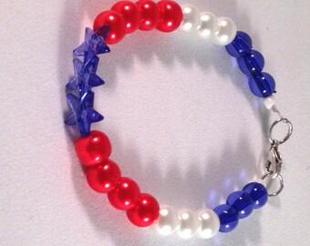 Red White and Blue Stars Charm Bracelet
