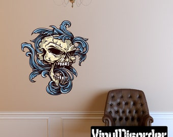 Skull Wall Decal - Wall Fabric - Vinyl Decal - Removable and Reusable - SkullUScolor032ET