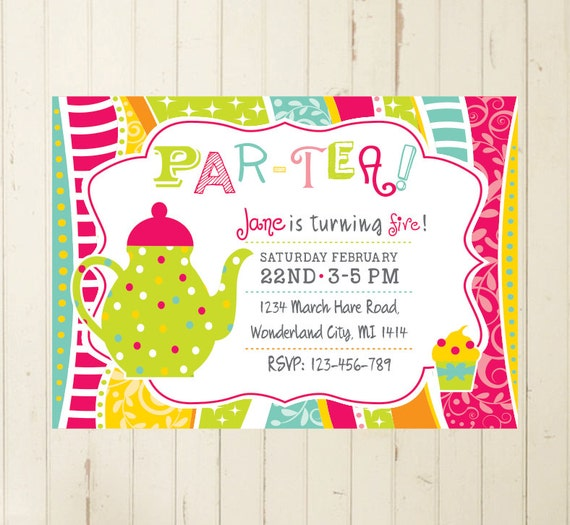Tea Party Invite 1st Birthday Girl 4th Birthday 5th 6th Teapot